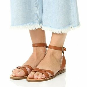 Madewell Boardwalk Brown Ankle Wrap Sandals